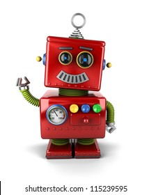 Little vintage toy robot waving hello over white background