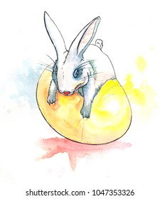 Little white bunny swaying on a golden Easter egg in colourful splashes of yellow, blue, and red paint