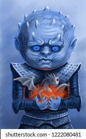 little white walker takes care of dragon. Cold and hot. North and south. Illustration game of thrones. newborn dragon.