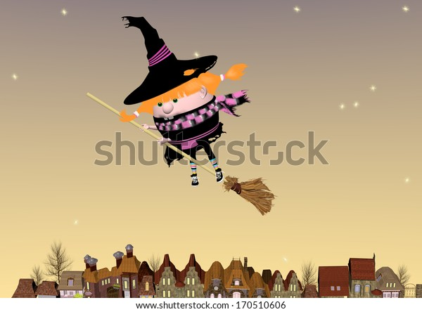 little witch flying on a broom over a night city, 3D illustration, raster illustration