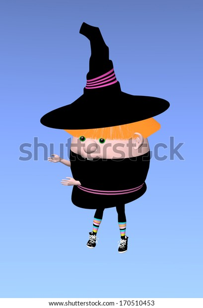 little witch, raster illustration over a blue background