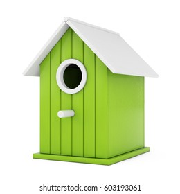 Little Wooden Olive Birdhouse on a white background. 3d Rendering.