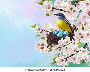 Little yellow bird sits near a twisted nest with blue eggs, flowering sakura branch, cherries, spring flowers, Easter background