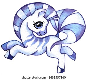 Little Zebra, cute cartoon pony, little horse, frisky playful Zebra on white background, galloping, circus Zebra, Baby animal, drawing for kids. Painted in Watercolor in blue and purple.