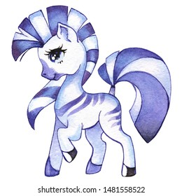 Little Zebra, cute cartoon pony, little horse, frisky playful Zebra on white background, galloping, prancing, circus Zebra, Baby animal, drawing for kids. Painted in Watercolor in blue and purple.