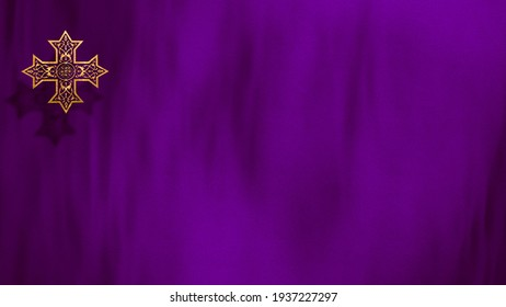 Liturgic purple velvet with golden Christian Coptic Orthodox Cross. 3D illustration background for worship live stream church sermon. Concept for Cross of Our Lord, Lent, Great and Holy Thursday.