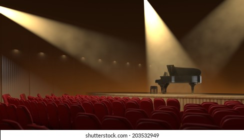 Live atmosphere of Grand piano concert from a angle of audiance.