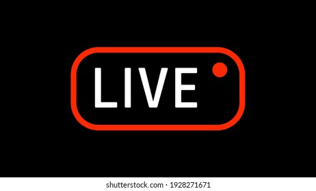 Live Box Sign Indicator With Record Symbol on Black Background