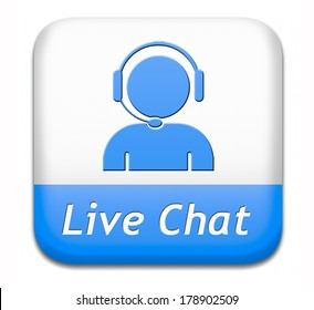 live chat blue button. Chatting online sign.