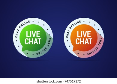 Live chat button for websites and application for user support and help. Online and offline variants of this button.