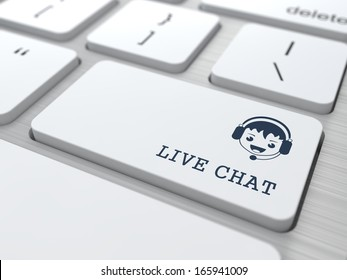 Live Chat Concept. Boy with Headset Icon on White Keyboard Button.