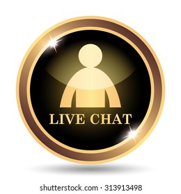 Live chat icon. Internet button on white background.