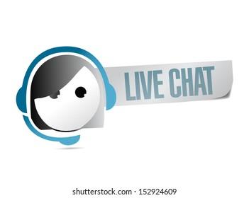 live chat illustration design over a white background