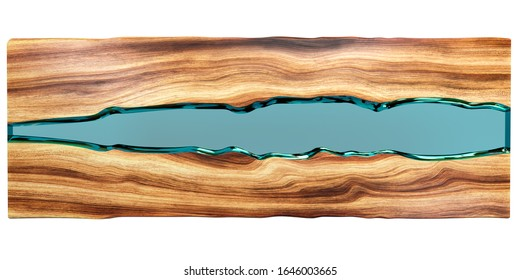 Live edge wooden table with epoxy resin on a white background. 3D rendering