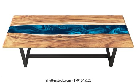 Live edge wooden table with epoxy resin art on a white background. 3D rendering