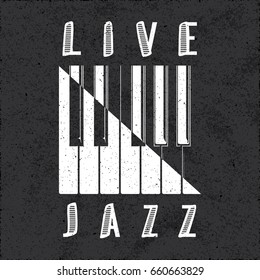 Live Jazz Calligraphy Illusion Logo Lettering with Piano Keys Yin Yang Style Composition and Grunge Effect - White Elements on Black Background - Contrast Graphic Illustration