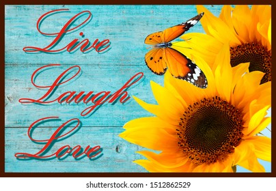 live laugh love doormat with beautiful sunflower
