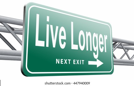 live linger sign eternal youth by healthy liffestyle, 3D illustration isolated on white background.