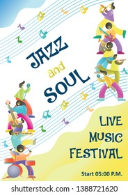 Live music festival start announcement poster design template. Jazz music players with musical instruments and microphones. Jazz and soul concept for flyer brochure etc.