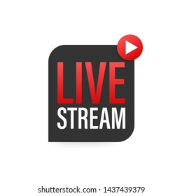 Live streaming logo, news and TV or online broadcasting. stock illustration