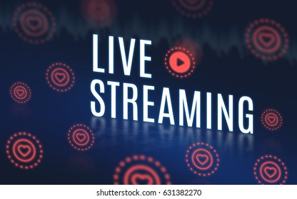 Live streaming word with play video icon and heart icon floating on navy blue tech background,Digital Video marketing concept