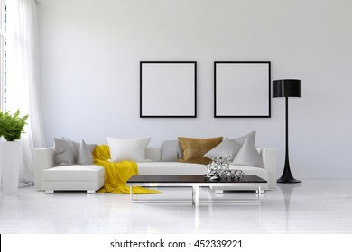 Lived in spacious living room with white walls, large sofa and floor lamp. Includes houseplant holder, coffee table and blank picture frames on wall. 3d Rendering.