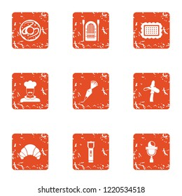 Livelihood icons set. Grunge set of 9 livelihood icons for web isolated on white background