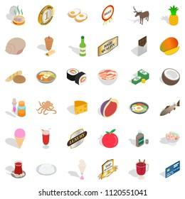 Livelihood icons set. Isometric set of 36 livelihood icons for web isolated on white background