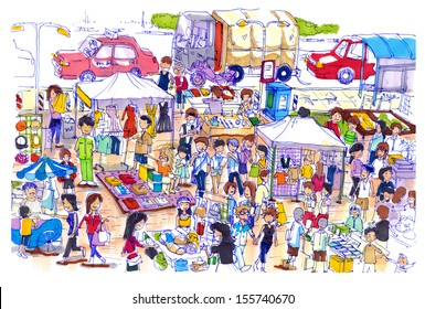 Lively and colorful flea market in Asia. Kind of flea or sunday market in asia well know shopping place for a good price and fine quality