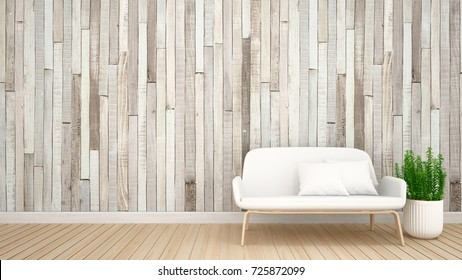 living area in apartment or hotel wood pattern decoration - Interior Design - 3D Rendering