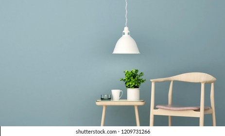 Living area in home or apartment on blue wall decorate - Relax area in Coffee shop or restaurant - 3D Illustration