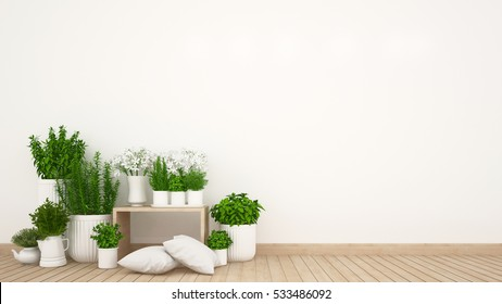 living area and indoor garden in home or coffee shop - 3D Rendering