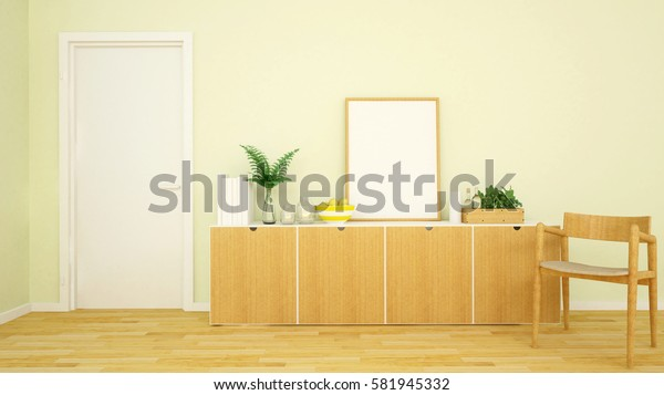 living area yellow tone in apartment or home - 3d rendering