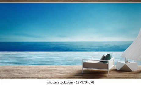 Living beach lounge - ocean villa on Sea view for vacation and summer / 3d render interior