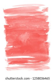 Living coral color. Abstract paint spots on white background. Color watercolor stains and blots.