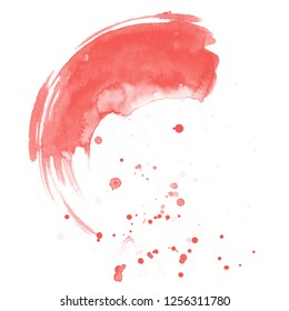 Living coral color. Watercolor background for textures. Abstract watercolor background. Ink stains on paper.