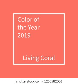 Living Coral color of the year. Color trend palette. Swatch Living coral. Illustration design for advertising, blog posts, flyers, banners, poster, cards. Mockup