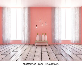 living coral empty interior with vases and hanging bulbs. 3d illustration