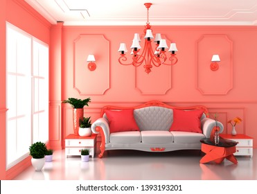 Living coral Luxury room interior and decoration luxury style.3D rendering
