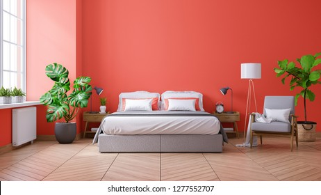 Living coral style and Modern bedroom interior coral decor concept,king size bed , gray armchair and plant,3d rendering