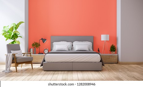 Living coral style and Modern bedroom interior decor concept,king size bed , gray armchair and plant,3d rendering