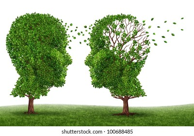 Living with a dementia patient and alzheimers disease with two trees in the shape of a human head and brain as a symbol of the stress and effects on loved ones and caregivers by the loss of memory.