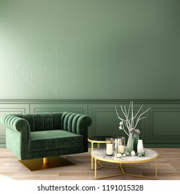 living interior design in classic style with decoration set on sideboard, velvet armchair on wooden floor and deep green wall,3d illustration,3d rendering