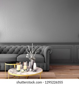 living interior design in classic style with decoration set on sideboard, velvet armchair on wooden floor and gray wall,3d illustration,3d rendering
