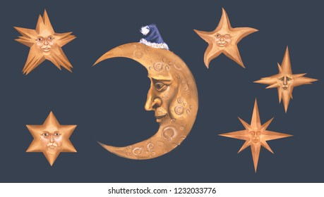 living moon and stars isolated