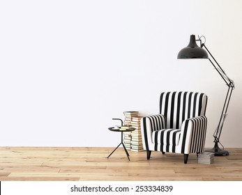 living room with an armchair, lamp and books, 3d rendering