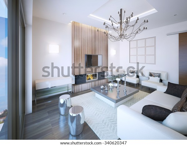 Living Room Art Deco Style Fireplace Stock Illustration 340620347