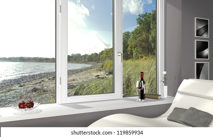 living room with a beautiful view to the beach - 3d render