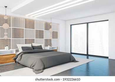 Living room with bed, linens and pillows, side view, on carpet and grey floor with windows. Nightstands and decoration, 3D rendering no people