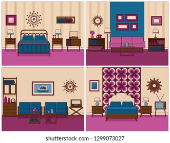 Living room and bedroom. Linear room interiors with furniture. Retro house scene. Flat line art style home illustration. Vintage design. Set outline sketch. Hotel background with bed and sofa.